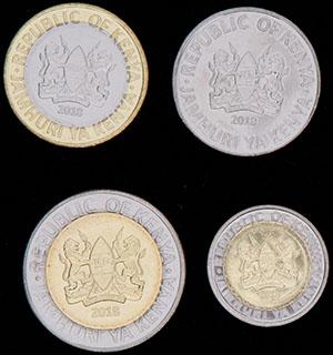 Кения. Лот из монет 2018 г. 4 шт.