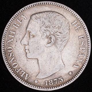 Испания. 5 песет 1875 г. Серебро