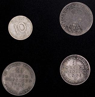 Германия, Швеция. Лот из монет 1843-1956 гг. 4 шт.
