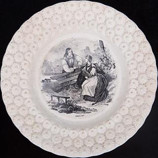 Декоративная тарелка «Приветствие господина». Фарфор. Фирма «Boch Freres Keramis»