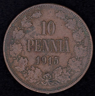 10 пенни 1915 г. Медь