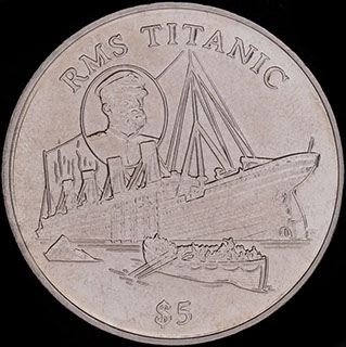 Либерия. 5 долларов 1998 г. «Титаник». Медно-никелевый сплав