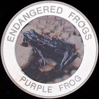 Малави. 10 квач 2010 г. «Вымирающие лягушки - Пурпурная лягушка». Медно-никелевый сплав с серебряным покрытием
