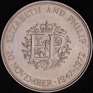 Великобритания. 25 пенсов 1972 г. «Королевская серебряная свадьба». Серебро