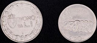 Италия. Лот из монет 1921-1923 гг. 2 шт.