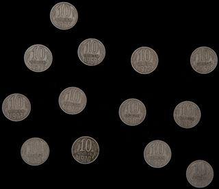 Лот из 10 копеек 1969-1974 гг. 13 шт.