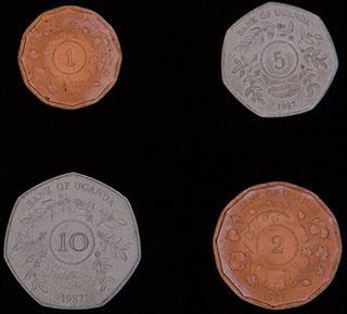Уганда. Лот из монет 1987 г. 4 шт.