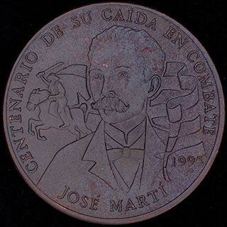 Куба. 1 песо 1995 г. «100 лет со дня смерти Хосе Марти». Медь