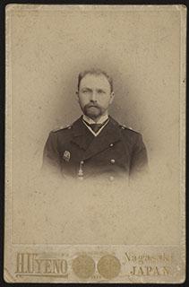 Фотография капитана 2-го ранга В.И. Берлинского с автографом, погибшего в бою в Корейском проливе