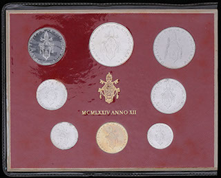 Ватикан. Лот из монет 1974 г. 8 шт. В оригинальной упаковке