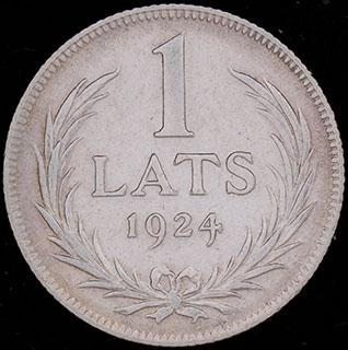 Латвия. 1 лат 1924 г. Серебро