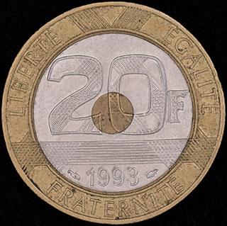 Франция. 20 франков 1993 г. Алюминиевая бронза, никель