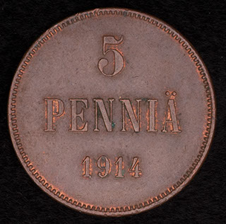 5 пенни 1914 г. Медь