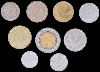 Италия. Лот из монет 1996 г. 9 шт.
