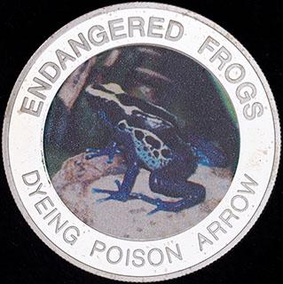 Малави. 10 квач 2010 г. «Вымирающие лягушки - Пятнистый древолаз». Медно-никелевый сплав с серебряным покрытием