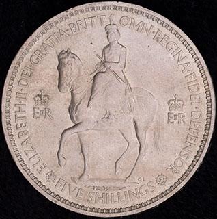 Великобритания. 5 шиллингов 1953 г. «Коронация Королевы Елизаветы II». Медно-никелевый сплав