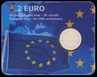 Словакия. 2 евро 2015 г. «30 лет флагу Европейского союза». Никель покрытый никелевой латунью, медно-никелевый сплав. В оригинальной  упаковке