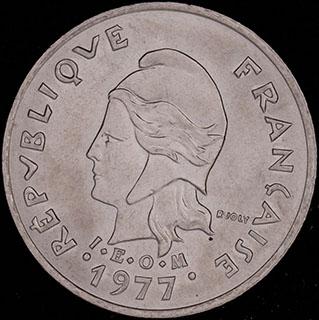 Новые Гебриды. 10 франков 1977 г.  Медно-никелевый сплав
