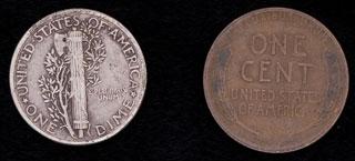 США. Лот из монет 1911-1945 гг. 2 шт.