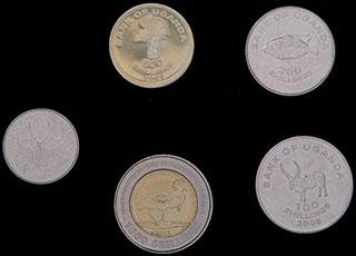 Уганда. Лот из монет 2007-2012 гг. 5 шт.