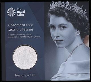 Великобритания. 5 фунтов 2018 г. «65 лет правления Королевы Елизаветы II». Медно-никелевый сплав. В оригинальной упаковке