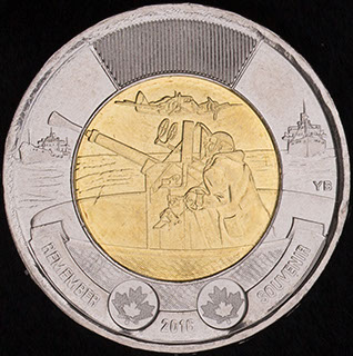 Канада. 2 доллара 2016 г. «75 лет Битве за Атлантику». Алюминиевая бронза, сталь с никелевым покрытием