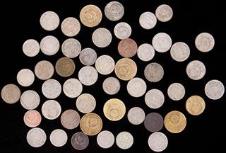 Лот из монет 1930-1991 гг. 50 шт. Частично покрыты лаком