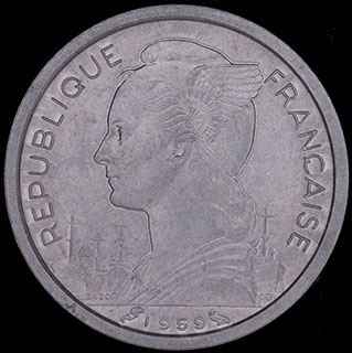Французское Сомали. 1 франк 1959 г. Алюминий