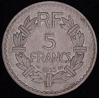 Франция. 5 франков 1935 г. Никель