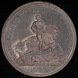 «Битва при Лесной. 28 сентября 1708». Свинцово-оловянный сплав. Диаметр 46,3 мм.