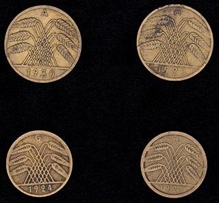 Германия. Лот из монет 1923-1930 гг. 4 шт.