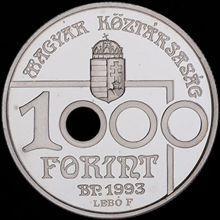 Венгрия. 1 000 форинтов 1993 г. «Чемпионат мира по футболу 1994 г.». Серебро