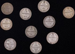 Лот из 10 копеек 1889-1916 гг. 10 шт.