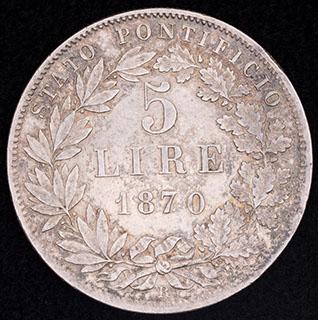 Ватикан. 5 лир 1870 г. Серебро