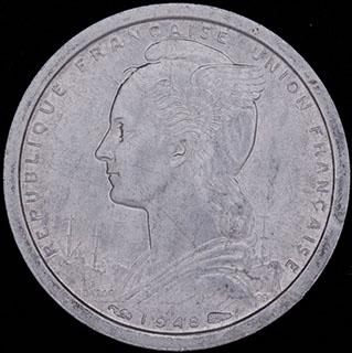 Сен-Пьер и Микелон. 1 франк 1948 г. Алюминий