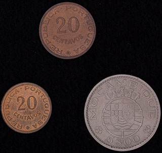 Мозамбик. Лот из монет 1961-1974 гг. 3 шт.