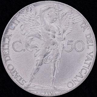 Ватикан. 50 центов 1941 г.  Нержавеющая сталь