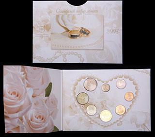 Свадебный набор монет 2008 г. 8 шт. В оригинальной упаковке
