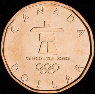 Канада. 1 доллар 2010 г. «XXI зимние Олимпийские Игры, Ванкувер 2010». Никель с бронзовым покрытием