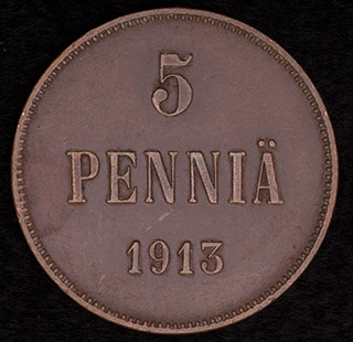 5 пенни 1913 г. Медь