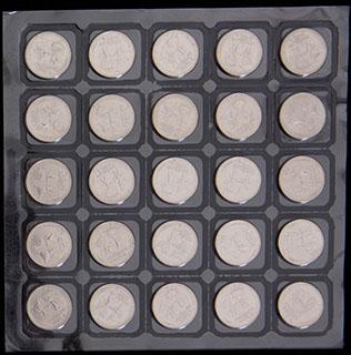 Лот из 25 рублей 2013 г. «Сочи-2014». 25 шт. Полный лист в защитной упаковке монетного двора