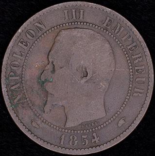 Франция. 10 сантимов 1854 г. Медь