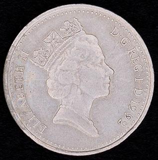 Великобритания. 10 пенсов 1992 г. Медно-никелевый сплав