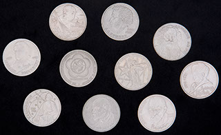 Лот из памятных рублей 1975-1991 гг. 10 шт.