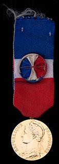 Франция. Медаль за отличную работу. Металл желтого цвета. С оригинальной лентой