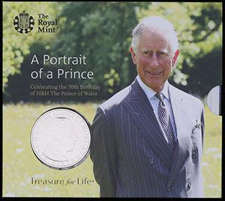 Великобритания. 5 фунтов 2018 г. «70 лет со дня рождения Принца Чарльза». Медно-никелевый сплав. В оригинальной упаковке