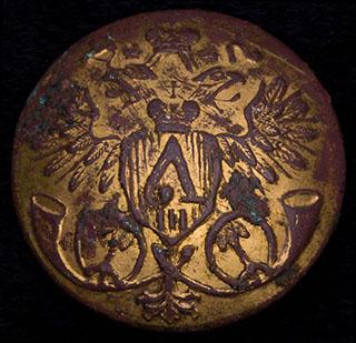 Пуговица фельд-егерская. Бронза, позолота