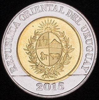 Уругвай. 10 песо 2015 г. «Положение о земле 1815 года». Алюминиевая бронза, медно-никелевый сплав