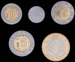 Мексика. Лот из монет 2017-2018 гг. 5 шт.