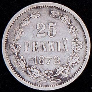 25 пенни 1872 г. S. Серебро